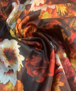 Хлопок сатин оранжевый с цветами