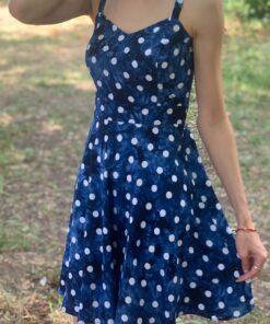 Летнее платье синее в горошек