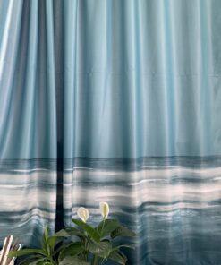 Шторная светонепроницаемая ткань с рисунком моря
