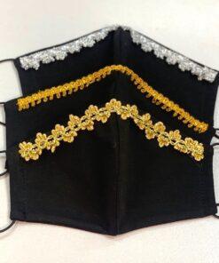 Маска защитная новогодняя, черная с золотистой и серебристой вышивкой