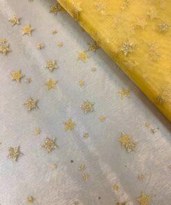Органза золотые звезды, праздничная новогодняя ткань
