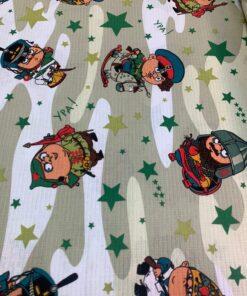 Вафельное полотно Солдатики, детская ткань для мальчиков